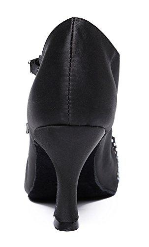 Tda Mujeres Fashion Punta Estrecha Talón Acanalado Cristales Satén Tango Ballroom Zapatos De Baile Latino 7.5cm Negro
