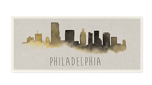 (Stupell Home Décor Philadelphia Skyline Silhouette Wall Plaque Art, 7 x 0.5 x 17, Proudly Made in)