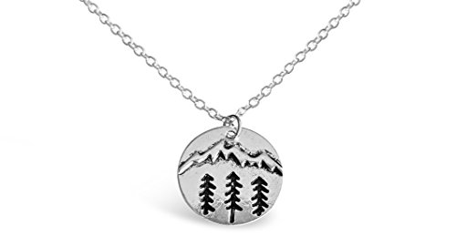 Rosa Vila Round Plate Forest With Mountain Ranges Necklace, Tree and Mountain...
