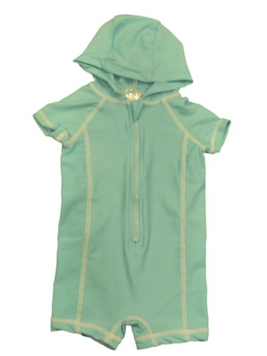 Circo Infant Girls 1 Piece Aqua Blue Hooded Rash Guard Swimming Suit Swim 6M 6m