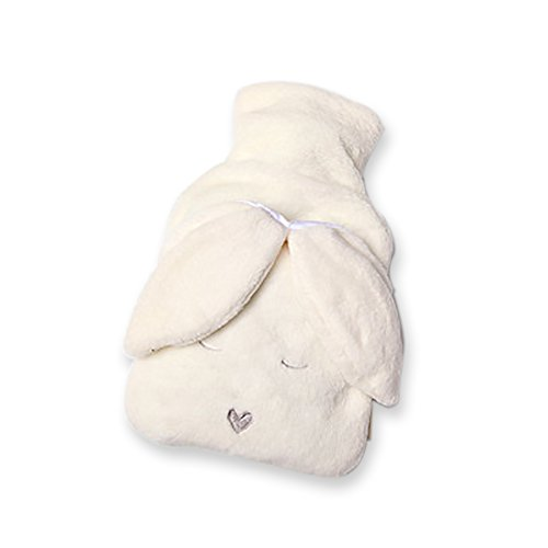 Jaywayne Classic Rubber Hot Water Bottle & Luxurious Cozy Faux Fur Cover Set Cute Knit Cover For Cramps And Pain Relief(2 Liter/White Rabbit)
