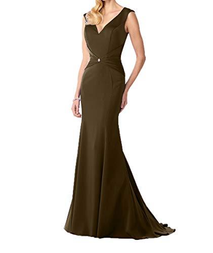 Kleider Brautmutterkleider Abendkleider Braun Damen Satin V Meerjungfrau Elegant Charmant Damen Ballkleider Lang Ausschnitt pAPOOq