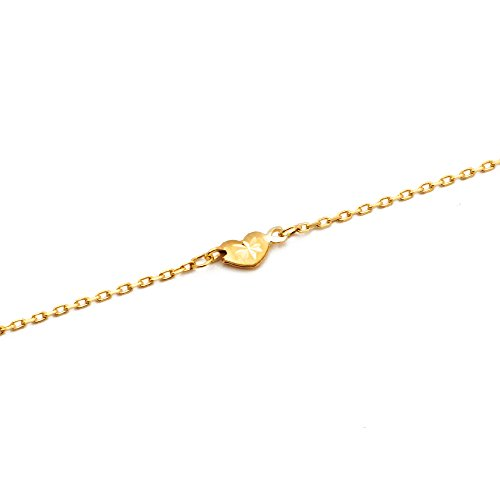 LOVEBLING 10K Yellow Gold .50mm Diamond Cut Rolo Chain with 5 Diamond Cut Heart pendants Anklet Adjustable 9'' to 10'' (#18) by LOVEBLING (Image #3)