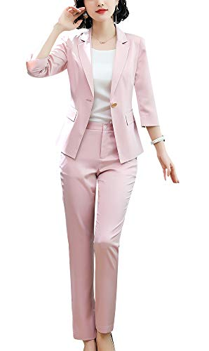(Women's Two Pieces Blazer Office Lady Suit Set Work Blazer Jacket and Pant (Pink-881342, L))