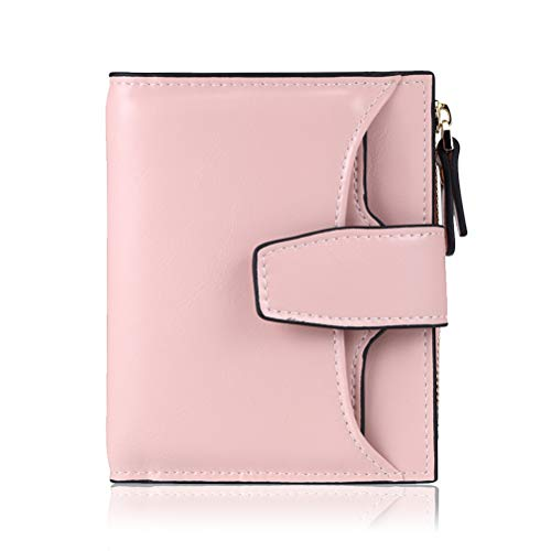 FT FUNTOR RFID Leather Wallet for women,Ladies Small Compact Bifold Pocket Wallet with id Window Pink
