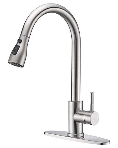Sensor Faucet Package - Keonjinn High Arc Single Handle Pull out Brushed Nickel Kitchen Faucet,Single Level Stainless Steel Kitchen Sink Faucets with Pull down Sprayer