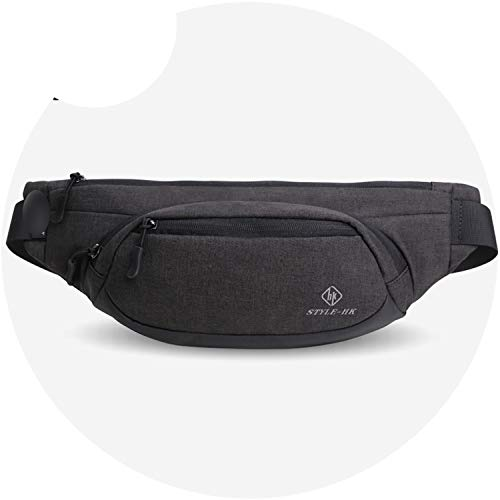 Fanny Pack Men Black Waterproof Waist Bags for Men Cigarette Phone Case Money Belt for (Black Cigarette Money Case)