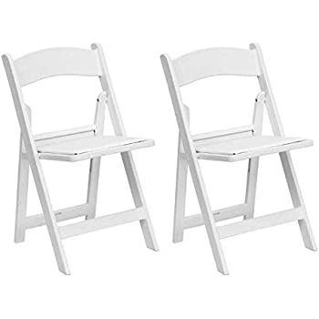 Amazon Com Slatted Stackable Folding Chairs White Resin