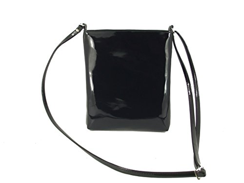 LONI Womens Cross-Body Shoulder Bag Handbag, Faux Patent Leather, Compact Size by LONI
