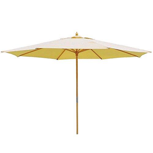 13ft Beige Patio Market Umbrella German Beech Wood Pole 8 Ribs Outdoor Furniture Waterproof for Beach Pool Canopy Sun Block Shade