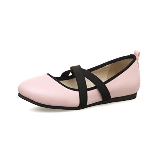 XIE Zapatos de mujer Boca baja Talón plano Empeine Banda elástica Código de tamaño de estudiante diario 33-44 Zapatos solos de primavera y verano pink