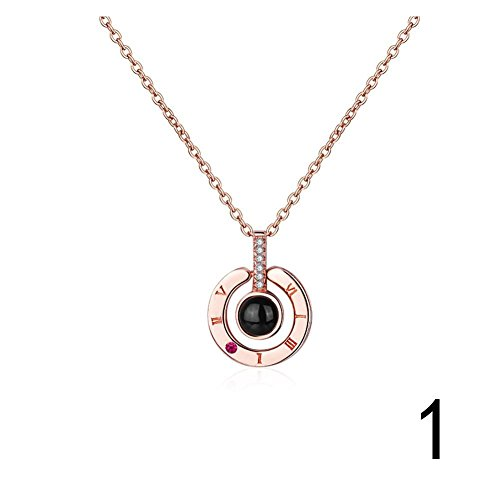 RoseSummer I Love You Necklace 100 Languages Charm Beads Necklace Memory Of Love Valentine Gifts (Rose Gold) ()