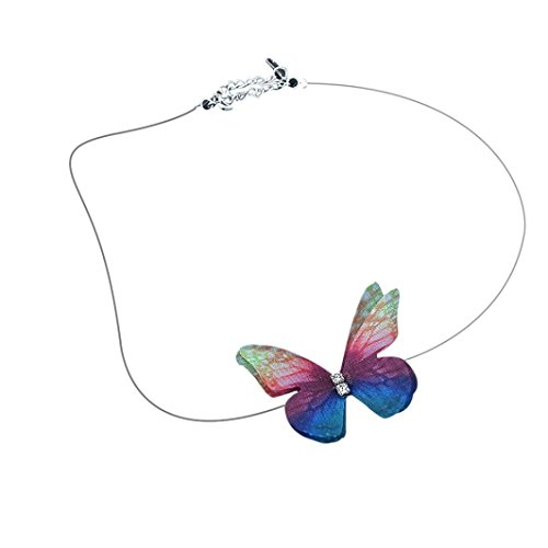 Women's Necklace, Iuhan Invisible Fish Line Chiffon Three Dimensional Butterfly Short Necklace Popular (B) (Pendant Butterfly Stone Multi)