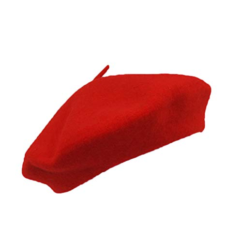 Classic French Artist 100% Wool Beret Hat Red -