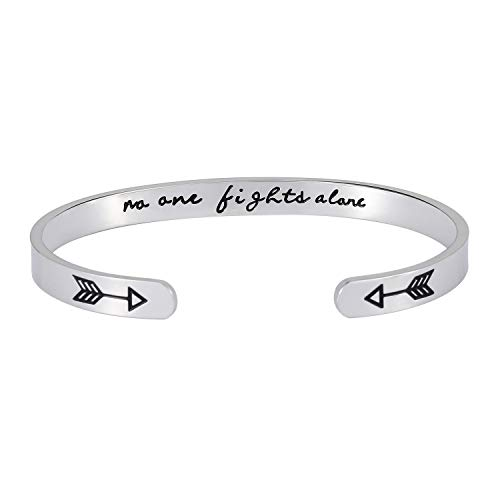 Inspirational Gift Bracelet Cuff Bangle – Mantra Quote NO One Fights Alone Stainless Steel Engraved Motivational Friend Encouragement Jewelry for Women Teen Girls with Secret Message Hidden Arrows