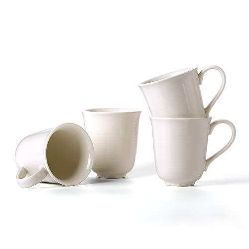 (LE TAUCI Ceramic Coffee Mug set - 12 Ounce for Coffee, Tea, Cocoa, Milk, Set of 4, Marshmallow White)