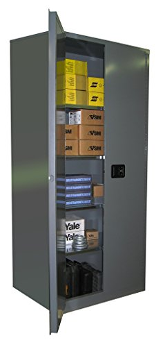 38' Cabinets (SECURALL SS284 General/Industrial Office Storage Cabinet - Single wall, 4 Adj Shelves, 15 YR Warranty, 84 x 36 x 24 in, 2-Door, 38 Cubic Feet, SMaRT Certified, - Gray)