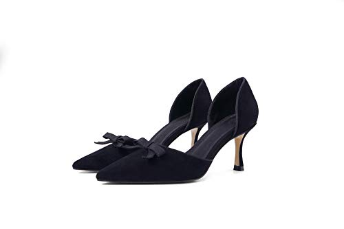 Black Fresh Mouth Fine Heels Bow Female Shallow Pointed Small Single Wild With Yukun High alti Shoes Autumn Tacchi Hollow Ywq1ZUZg