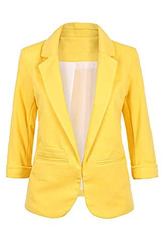 Moyenne Casual Cardigan Veste Couleur Work Printemps Jaune Blazer Casual Violet Taille Zhrui Femme Automne 7qf4B