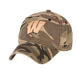 (University of Wisconsin UW Badgers Camo Top Maverick Unstructured Cotton Adult Mens/Womens/Boys Adjustable Baseball Hat/Cap)