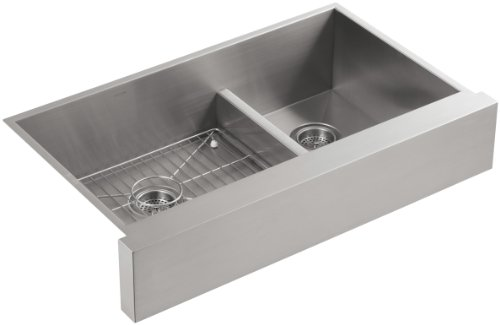 Twin Bowl Sink (KOHLER K-3945-NA Vault Undercounter Offset Smart Divide Stainless Steel Sink with Shortened Apron-Front for 36-Inch Cabinet)