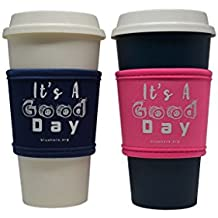 Blushers Neoprene Reusable Cup Sleeve, Cup Grip (Blue & Pink)