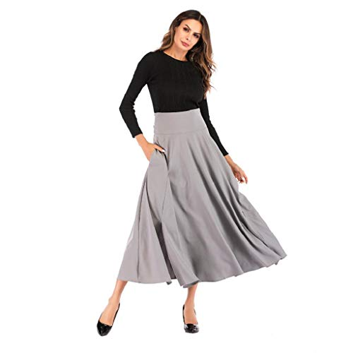 KASAAS Womens Solid High Waist Pleated A Line Ankle-Length Front Slit Belted Pockets Maxi Skirt(Medium,Gray)