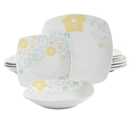 Gibson Home Summerfield Square Dinnerware Set, Service for 4 (12) Piece, White/Multi