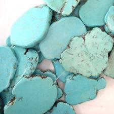 Slab Nugget - 50mm - 55mm Blue Turquoise Freeform Slab Nugget Beads 15.5