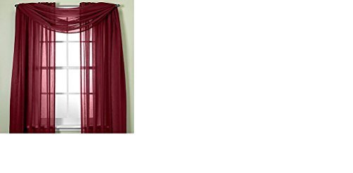 MONAGIFTS BURGUNDY Scarf Voile Window Panel Solid sheer valance curtains 216