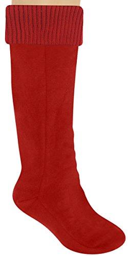Capelli New York Solid Microfiber Fleece Ladies Tall Rain Boot Liner With Rib Cuff Red Devil Small