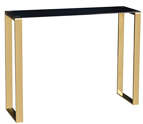 Cortesi Home Remini Narrow Contemporary Glass Console Table in Polished Gold Finish, Black Glass Review