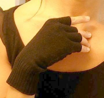 Black Pure 100% Cashmere Fingerless Half Finger Gloves by Feeling Pampered (Image #2)