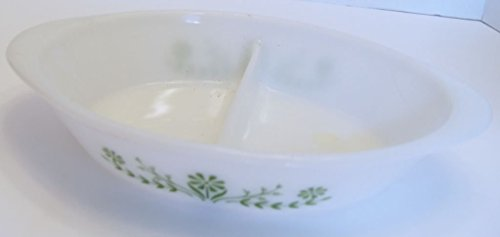 - Glasbake Oval Divided Milk Glass Casserole Baking Dish Handles Green Daisy Design