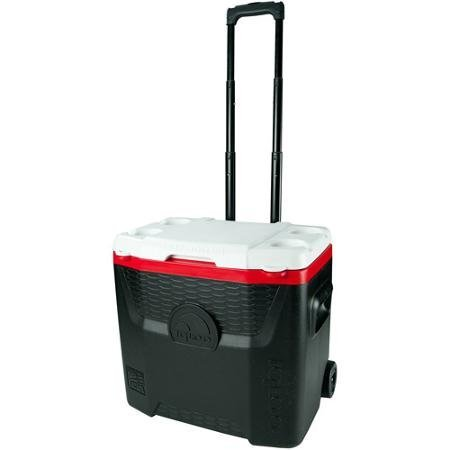 Igloo 28-Quart Red/Black Quantum Wheeled Cooler with Locking, Telescoping Handle with Gear Hangers, Durable Wheels, Four Cup Holders, and Lockable Lid or Tie-down loops by Igloo