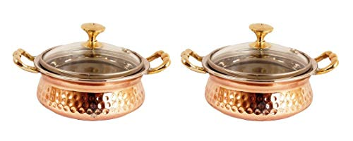 Indian Art Villa 3.0 #34; X 5.0 #34; X 2.0 #34; Handmade Stainless Steel Copper Casserole Dish Serving Indian Food Daal Curry Set of 2 Handi Bowl With