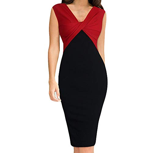 DEATU Women Work Dress Ladies Fashion Slim V-Neck Patchwork Fold Sleeveless Work Dress(Red ,XL) ()