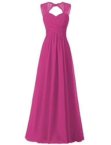 Fuchsia Bridesmaid Dresses Illusion Lace Strap Corset Back for Women