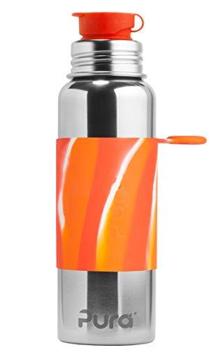 Pura Sport 28 oz / 850 ml Stainless Steel Water Bottle with Silicone Sport Flip Cap & Sleeve, Orange Swirl (Plastic Free, NonToxic Certified, BPA Free) (Swirl Water)