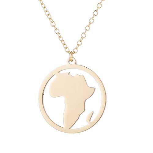 - Round Shape South Africa World Map Necklace | Vintage Stainless Steel Geometric Necklaces Pendants | Circle Choker