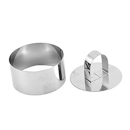 Forma de aço inoxidável DealMux Bolinho redondo da Asse Ferramenta cortador Mold w Smoother