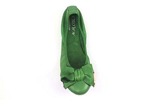 Chaussures Femme CROWN ballerines vert cuir AP937