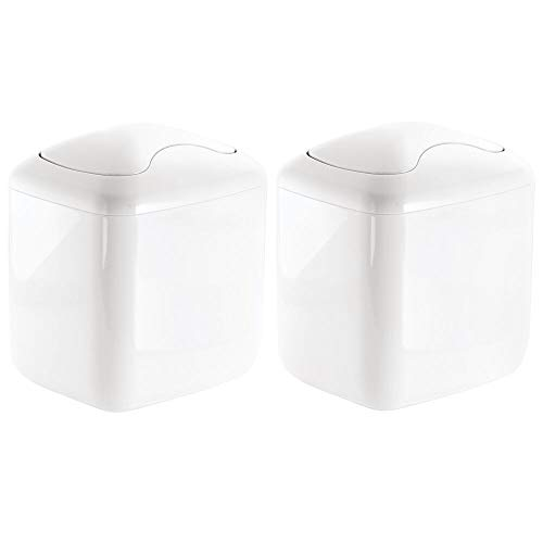 mDesign Modern Plastic Square Mini Wastebasket Trash Can Dispenser with Swing Lid for Bathroom Vanity Countertop or Tabletop - Dispose of Cotton Rounds, Makeup Sponges, Tissues - 2 Pack - -