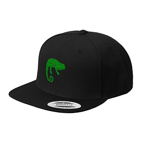 Custom Snapback Baseball Cap Green Chameleon Embroidery Acrylic Flat Bill Hard Hat Snaps Black Design Only