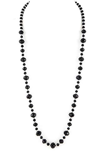 """(Allegro Classic Opaque Basic Black Faceted Round Glass Bead Necklace w/Silver-Tone Spacers 30"""" Long)"""
