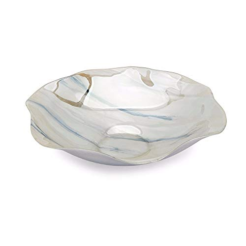 Benjara BM196548 Glass Constructed Decorative Bowl with Rounded Hexagonal Shape and Scalloped Edges, White and Blue