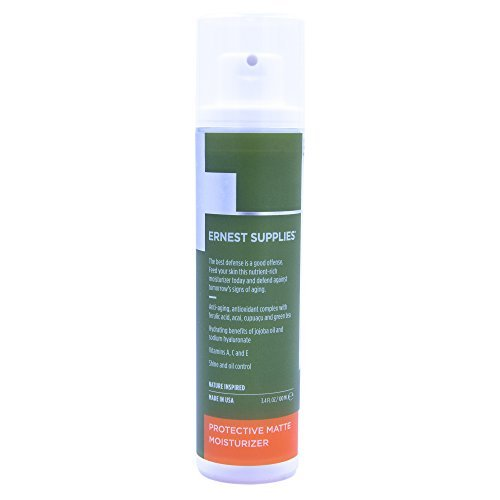 Ernest Supplies Protective Matte Moisturizer for Men, Bathroom Size Bottle - Premium, Plant-Based Anti-Aging Face Lotion to Control Oil and Shine with Antioxidants, 3.4 ()