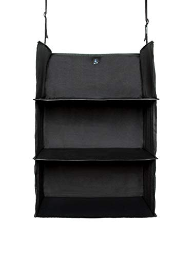 Portable Luggage System Suitcase Organizer - Exclusive, Black Packable Hanging Travel Shelves