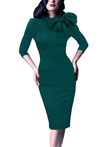 VFSHOW Womens Celebrity Vintage Bowknot Cocktail Party Stretch Bodycon Dress 1091 GRN XS