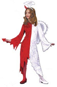 New Naughty /'n Nice Costume Devil Angel Dress Tail Wings Tights Hdp Child Size S